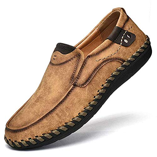 Men's Penny Loafers Comfortable Leather Casual Shoes Breathable Driving Shoes Flats Boat Shoes Slip on Brown