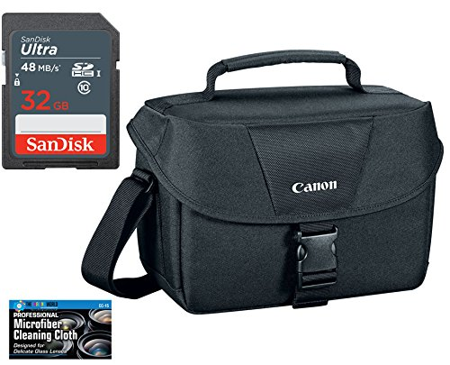 Canon 100ES Well Padded Multi Compartment Compact Digital SLR EOS Rebel Camera Gadget Case + SanDisk 32GB High Speed Memory Card + Cloth for 77D, T6s, T7i, T6i, T5i, SL1, -