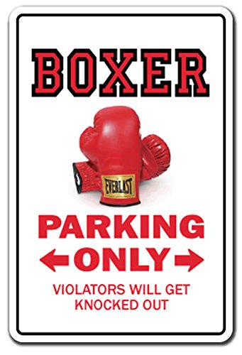 BOXER FIGHTER Sign Decal Sticker parking boxing gloves title gift funny gag punching bags wrap