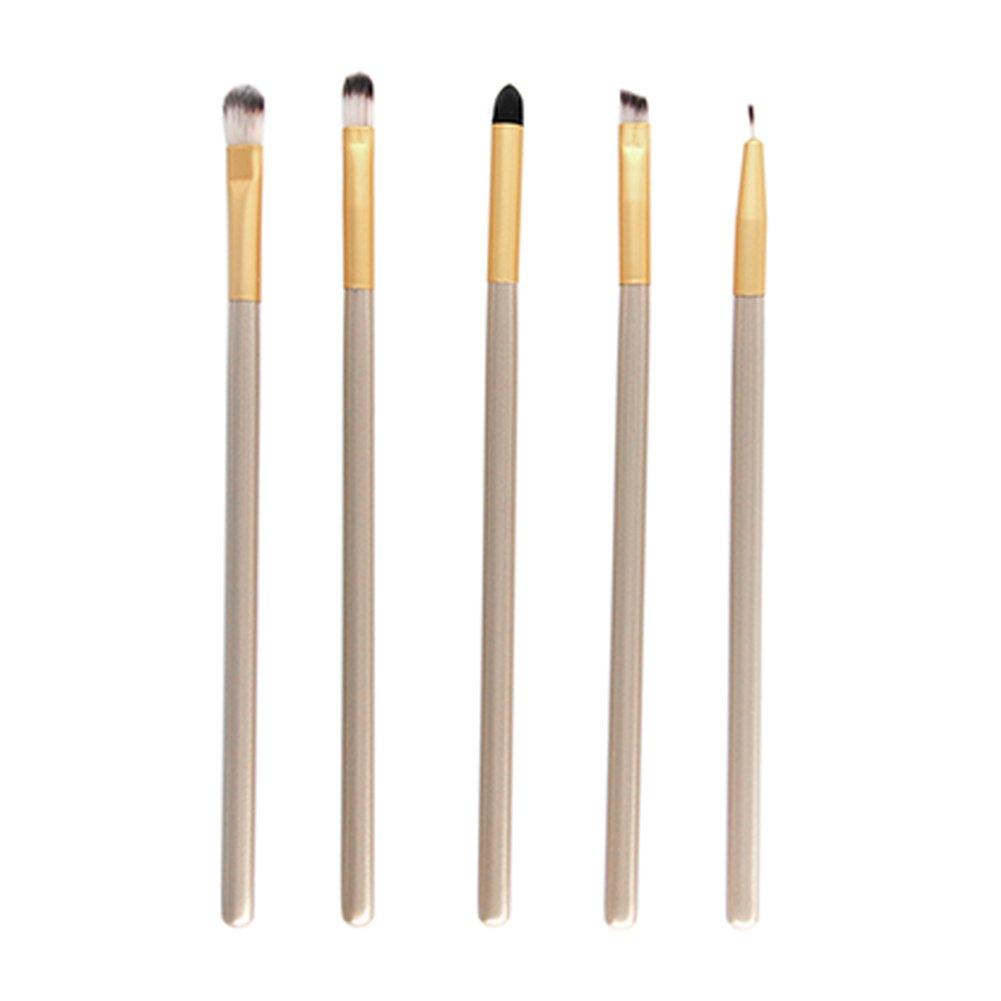 Drawihi 5 pezzi-Set di pennelli professionali per trucco, volto ombretti e Eyeliner Powder liquido Makeup Brushes, Oro 16 cm