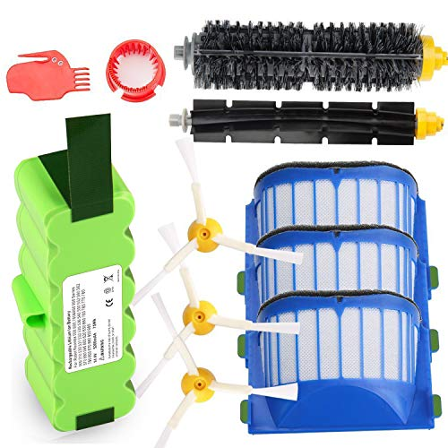 (Replacement 5200mAh Lithium Battery + Accessory Part Kit for iRobot Roomba 500 520 531 532 540 550 552 560 570 595 600 620 630 650 655 660 700 770 780 790 800 870 880 900 960 980 Scooba 450)