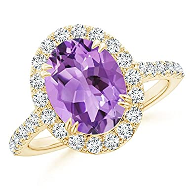 Angara Secured Claw Oval Tanzanite and Diamond Halo Ring