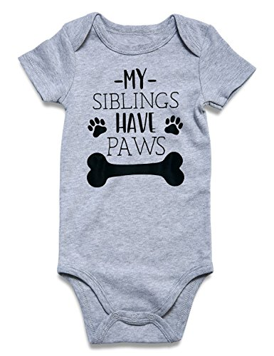 Loveternal Baby Romper Boy Girl Short Sleeve Cotton Clothes Summer Fall Spring Puppy Bone Button Jumpsuits Outfits My Siblings Have Paws Onsies 0-3 Months Baby Boy Girl Clothes