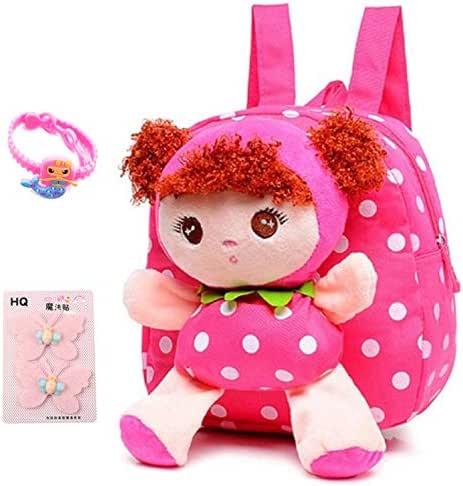 Suerico Cute Kids Toddler Backpack Plush Toy Backpack Snack Travel Bag Pre-School bags For Girls 1-5years (pink)