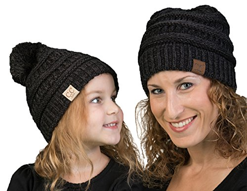 fWH.KP-6800-6206 Mother & Child Matching Beanie Bundle (POM): Onyx ()