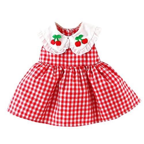 Ruffled Plaid Jacket - Matoen Newborn Baby Girl Dress Plaid Cherry Embroideried Ruffled Doll Neck Princess Sundress (18-24 Months, Red)