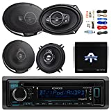 "Kenwood Single DIN Bluetooth CD/AM/FM Car Stereo Receiver Bundle Combo With 2x 6×9"" 5-Way Flush Mount Coaxial Speakers + 2x 5-1/4"" Audio Speaker + Autotek 4 Channel Amplifier + 50Ft Speaker Wire For Sale"