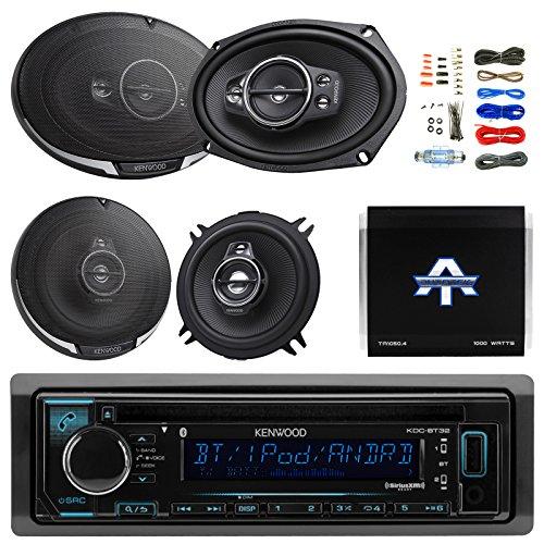 "Kenwood Single DIN Bluetooth CD/AM/FM Car Stereo Receiver Bundle Combo With 2x 6×9"" 5-Way Flush Mount Coaxial Speakers + 2x 5-1/4"" Audio Speaker + Autotek 4 Channel Amplifier + 50Ft Speaker Wire For Sale"