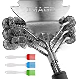 IMAGE Grill Brush,17in BBQ Unique Scraper 4 in 1 Design BBQ Brush,Threaded Grill Scraper & Brush for Weber Gas,Charcoal Grilling Grates, Metal/Porcelain Grates with 3 BBQ Seasoning Brushes/1 Cookbook