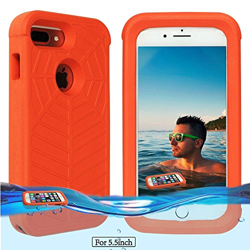 Price comparison product image Temdan iPhone 8 plus / 7 plus / 6s plus Floating Case with a 0.2mm clear&thin Waterproof Bag Shockproof Lifejacket Case for iPhone 8 plus / 7 plus / 6s plus/ 6 plus (5.5inch) -Orange
