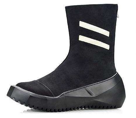 Eeayyygch Botines Altos de Cuero para Hombres Plataforma británica Martin Boots Zapatillas Hip Hop Street Skates