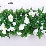 Ainest 1pc Artificial Fake Silk Rose Flower Ivy Vine Hanging Garland Wedding Home Decor White