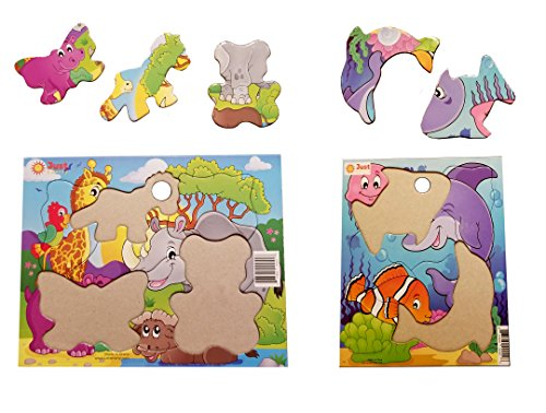 Zoo Shaped Animals Puzzle (Jigsaw Puzzles Set (7 pcs) for Kids Ages 2-4, Best for 2-3 Year Old Toddlers. Underwater World and Zoo. Easy Large Pieces. Fun Learning Educational Toy for Boys Girls at Daycare, Preschool, Montessori)