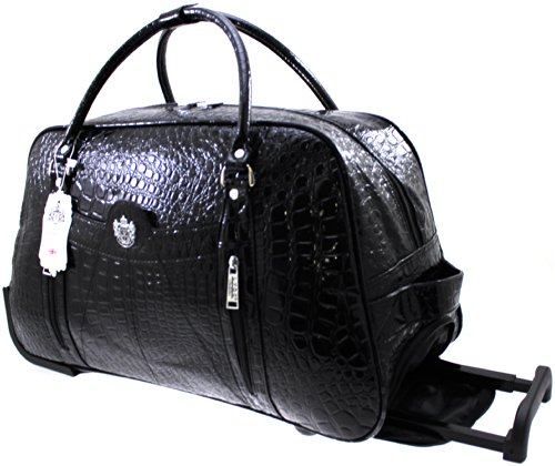 WOMENS DESIGNER LYDC LUGGAGE MOCK CROC WHEELED TRAVEL HOLDALL TROLLEY BAG BLACK