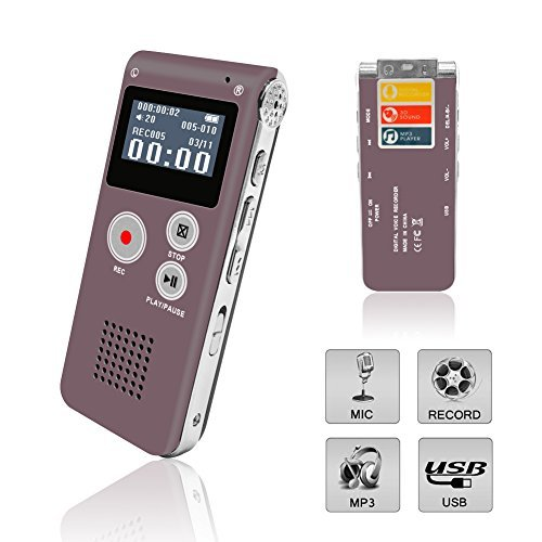 : Digital Voice Recorder, Spy Voice Recorder, Double Microphone HD Recording, Noise Cancelling, Metal Casing Dictaphone, with Built-In Speaker, Including Cables and Earphones Color LCD display Red-8GB