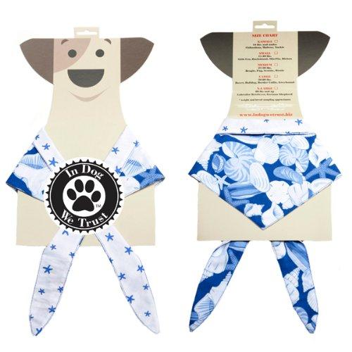 In Dog We Trust Shells Bandana, X-Small, Blue
