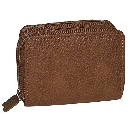 Buxton Womens RFID Accordion Double Zippered Wizard Credit Card ID Holder Travel Wallet (Mahogany) ()