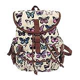 YJYDADA Women Vintage Canvas Bag National Wind Backpack Travel Bag School Bag (E)