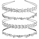 TecUnite 4 Pieces Wedding Party Crystal Flower and Leaves Crown Headband and Women's Faux Pearl Rhinestones Headdress for Bride Bridesmaids (Style Set 1)