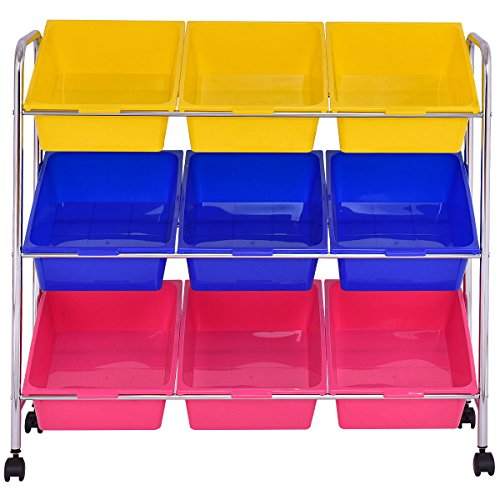 KCHEX>Toy Bin Cart Rack Organizer Kids Childrens Storage Box Playroom Bedroom Shelf>This is Our 9 Plastic Drawer Rolling cart, which is of and Brand New. Thanks to its Colorful Plastic by KCHEX (Image #1)