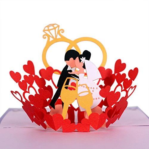 CUTEPOPUP 3D Wedding Bride and Groom Kiss Pop Up Wedding Card Handmade Greeting Card – Ideal for Wedding Invitation, Valentine Day, Wedding Anniversaries with Envelop
