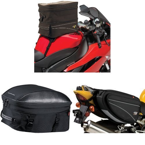 Nelson-Rigg CL-903 Black Expandable Tank/Tail Bag, CL-1060-ST Black Sport Touring Tail/Seat Pack, and CL-950 Black Deluxe Sport Touring Saddle Bag Bundle