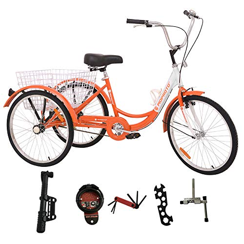 DoCred 26 Inch Adult Tricycle Series 3 Wheel Bike Adult Tricycle Trike Cruise Bike Large Size Basket for Recreation, Shopping, Exercise Men's Women's Bike (Single Speed – Orange)