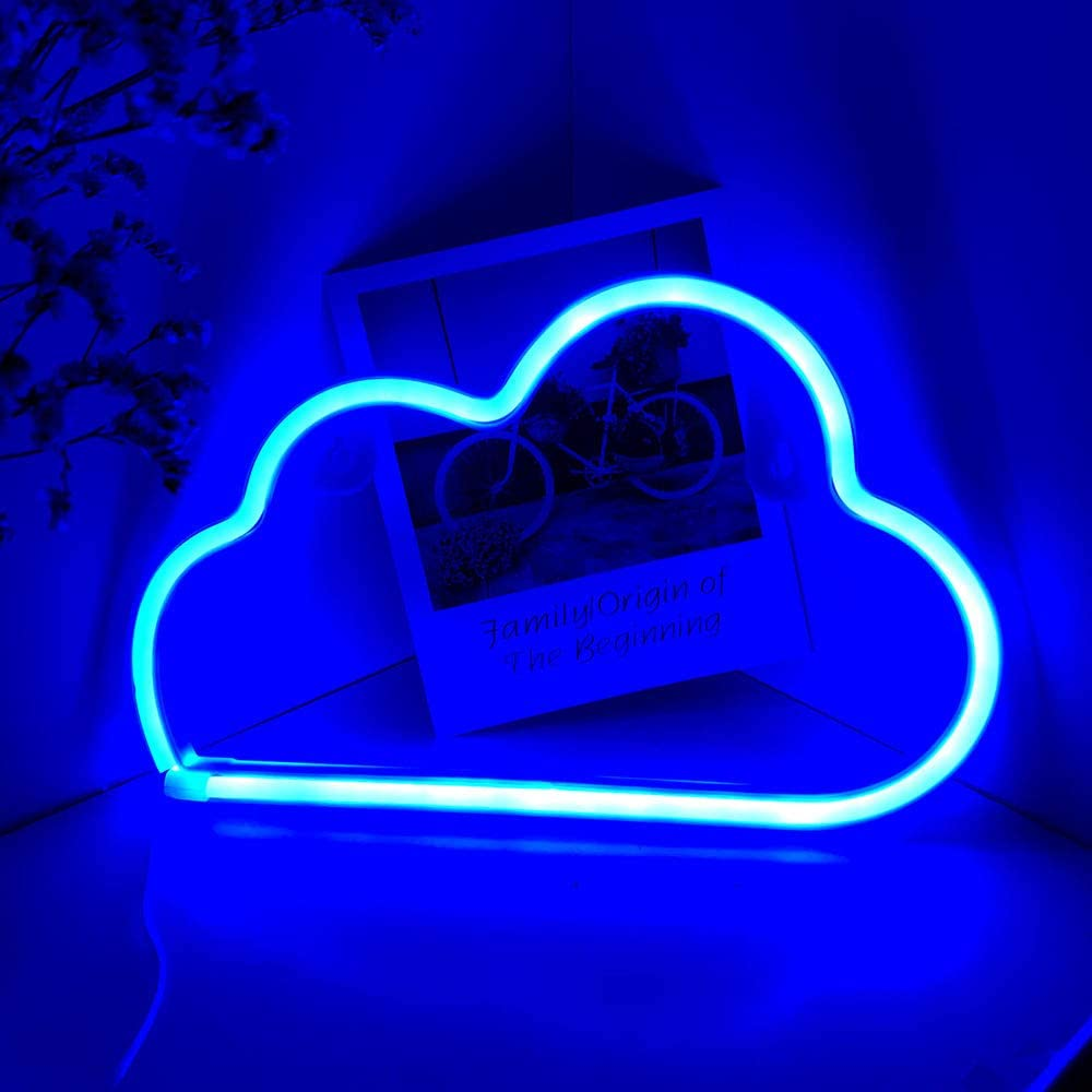 Cute Blue Cloud Neon Signs LED Sign Shaped Decor in Home Kitchen Light Battery USB Plug Neon Lights Wall Decor for Christmas Birthday party Kids Room Living Room Wedding Party Child Festival Gift