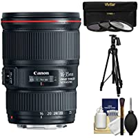 Canon EF 16-35mm f/4L IS USM Zoom Lens with Canon Tripod + 3 Filters Kit for EOS 6D, 70D, 5D Mark II III, Rebel T3, T3i, T4i, T5, T5i, SL1 DSLR Cameras