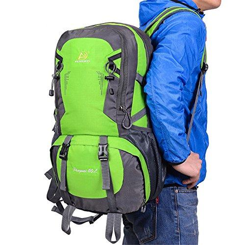 Wewod 40L Hombre y Mujer Mochilas de Senderismo al Aire Libre de Nylon Impermeable Mochilas de alta capacidad alpinismo bolso 32 x 50 x 22 cm (L*H*W) (Naranja) Verde