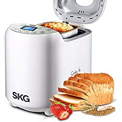 SKG Automatic Bread Machine Gluten Free Loaf Maker 19 Programs with Recipes 15 Hours Delay Timer 1 Hour Keep Warm Beginner Friendly, White