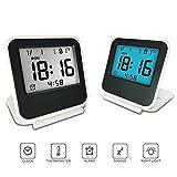 Electronic Alarm Clock, Travel Clock, KLAREN Portable Digital Clock with Calendar & Temperature - Battery Included (White)
