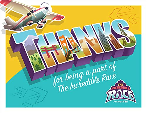 (Staff Appreciation Postcard - Pack of 40 - The Incredible Race VBS by Answers)