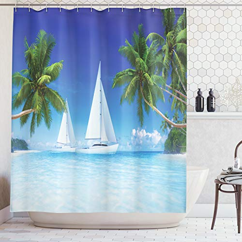 - Ambesonne Tropical Palm Trees and Ocean Houseboat Decor Collection, Nautical Window Scenery Sailboat Sea Life Seascapes Caribbean, Polyester Fabric Bathroom Shower Curtain Set with Hooks