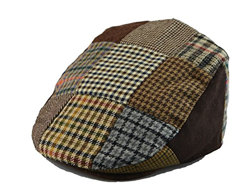 (Mens Winter Plaid Tweed Flat Ivy Driver Hat Cabbie Patch Work Ivy Cap M, L, XL (M(22 5/8 in / 7 1/4 / 58cm), Bro(1655)) )