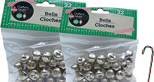 """Pack of 2 Crafter's Square Craft Jingle Bells Silver (32 Count 1/2 Inch) with Free 6"""" Candy Cane Ornament (Comes with Free How to Live Stress Free Ebook)"""