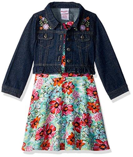 Nannette Little Girls' 2 Piece Denim Jacket Dress Outfit Set, Green, 6