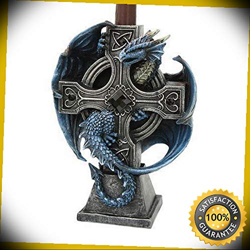 KARPP Altar Drake Crucifix Blue Dragon Candle Holder Stand Sculptural Gothic Home Deco Perfect Indoor Collectible Figurines