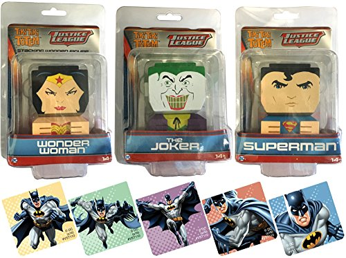Justice League Wooden Stackable Figures Wonder Woman + The Joker & Superman Tiki Totem Figure Pack DC Comics Characters + Bonus Batman Stickers Be the first to review this item