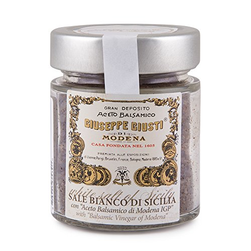(Giuseppe Giusti - Sale Bianco Di Sicilia - Gourmet White Sicilian Sea Salt Infused with Balsamic Vinegar Imported from Giusti in Modena, Italy - Unique Italian Gift for Chefs, Cooks, and Foodies)
