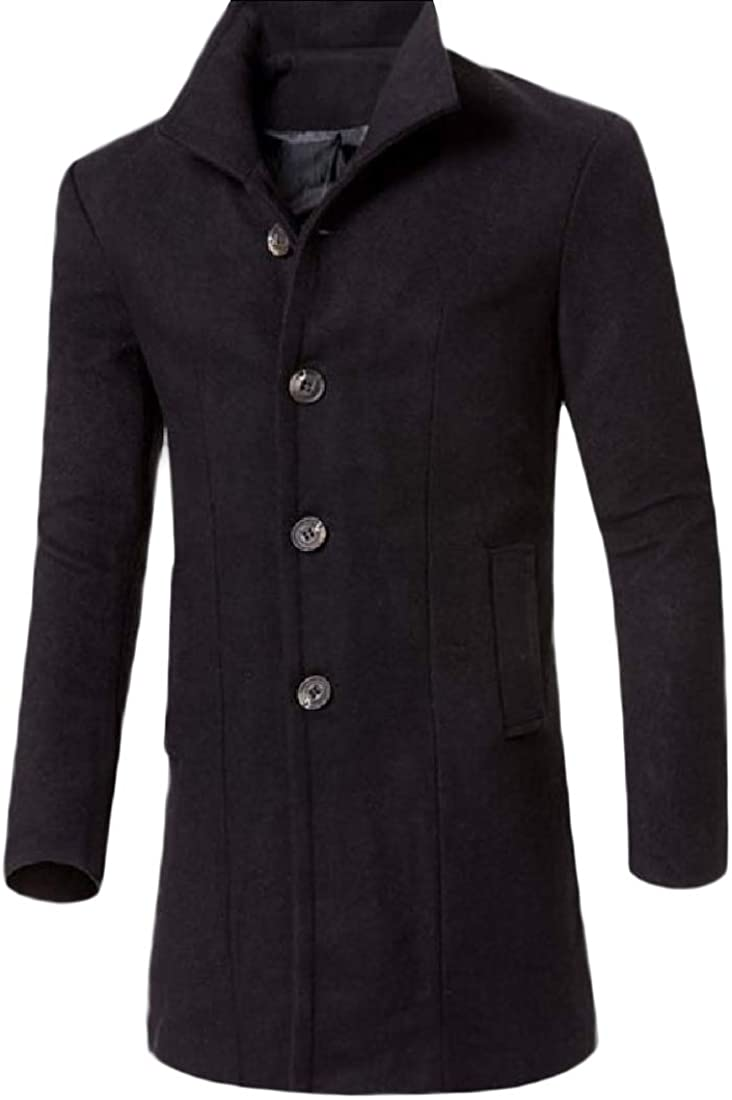 Kankanluck Mens Solid Wrap Outerwear Mid Casual Snowsuit with Pocket Pea Coat