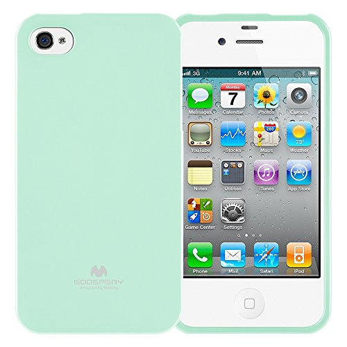 GOOSPERY Marlang Marlang iPhone 4/4S Case - Mint Green, Free Screen Protector [Slim Fit] TPU Case [Flexible] Pearl Jelly [Protection] Bumper Cover for Apple iPhone4S, IP4-JEL/SP-MNT (Light Green Iphone 4s Case)