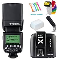 Godox TT685C E-TTL 2.4GHz GN60 High-Speed Sync 1/8000s Master Slave HSS Flash Speedlite Speedlight+X1T-C Wireless flash Trigger Transmitter for Canon Cameras +Diffuser &Filter&Snoot+USB LED