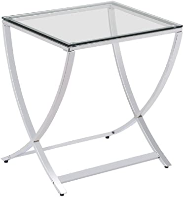 Amazoncom Contemporary Wrought Iron Side Table With Black Glass - Iron side table with glass top