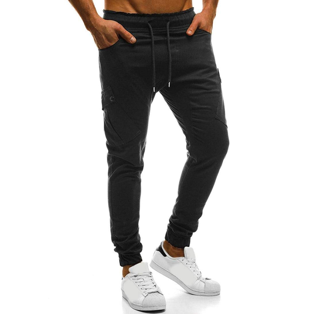 Realdo Fashion Sport Pure Color Bandage Casual Sweatpants Drawstring Cargo Pant Best Trousers Seller(X-Large,Black)