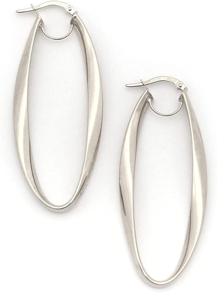 White OR Rose Gold Shiny Oval Shape Freeform Hoop Earring with Hinged Clasp 14K Yellow