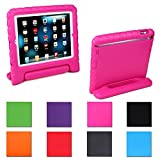 Stylish Protection Convertable Stand Cover Case for Apple Ipad Mini 2, Kids Light Weight Shock Proof Handle Case for Ipad Mini 1/2/3 Anti-scratch Super Protective Case for Ipad Mini 1/2/3 (Rose)