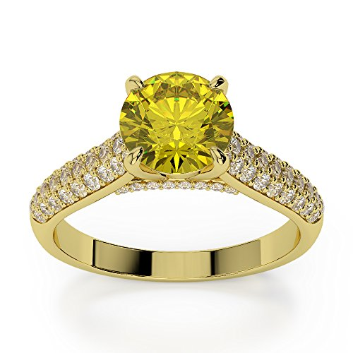 Or jaune 18 carats 1 CT G-H/VS sertie de diamants ronds Cut Saphir Jaune et bague de fiançailles Agdr-1203