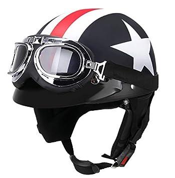 Ocamo Casco de Moto Unisex con Gafas Casco de Protector Solar de Media Cara con Tapa