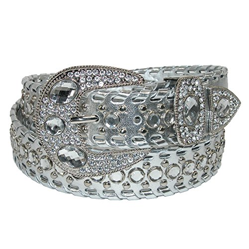 Belt with Rhinestones and Studs, Medium, Silver (Womens Western Rhinestone Belt Studs)